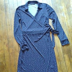 The Limited Navy Long Sleeve Teacher Wrap Dress